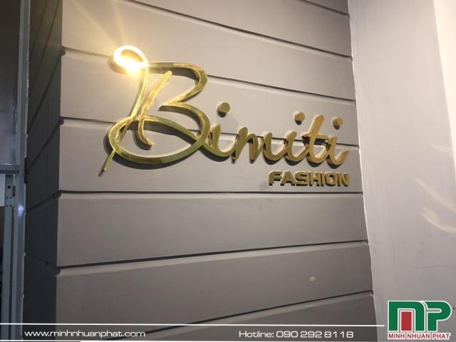 Thiết thế thi công bảng hiệu shop thời trang BIMITI quận gò vấp